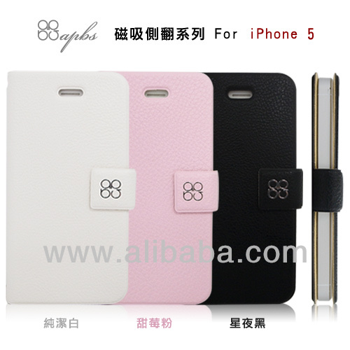 PU leather flip cover case for iPhone 5