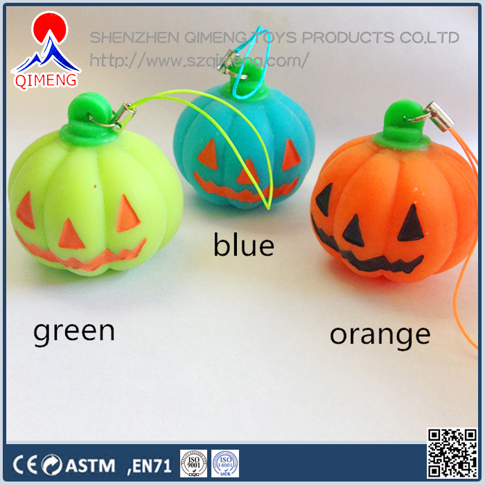 2016 halloween pumpkin squeeze ball keychain promotional toys