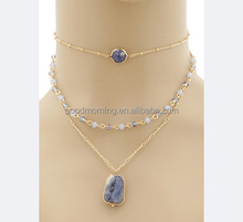 Natural Stone And Glass Beads Triple Layered Necklaces