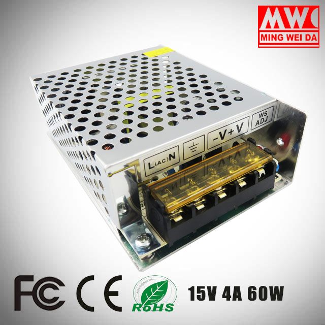 factory OEM service S-60-15 15v 4a 60w ac/dc switching power supply with price