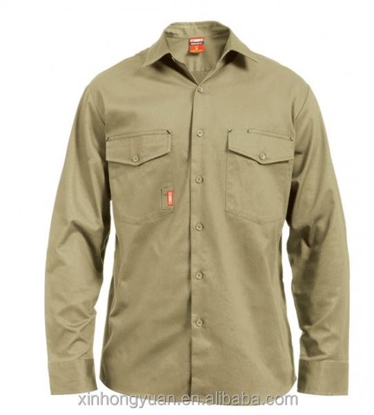 Custom khaki excellent sun protection moisture CVC polo button plaid work men shirt in long sleeve
