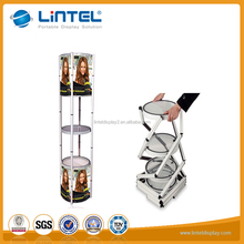 Trade show exhibition stand rotating showcase tower display with LED light