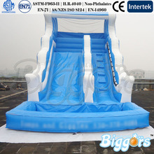 Wave Shape Inflatable Bounce House Water Slide With Pool For Kids Play