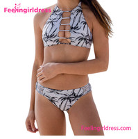 Manufacturer Brazilian Coconut Trees Printed Bikini Swimwear 2016