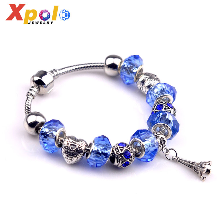 Factory promotional fashion blue glass beads tower accessory charm bracelet jewelry
