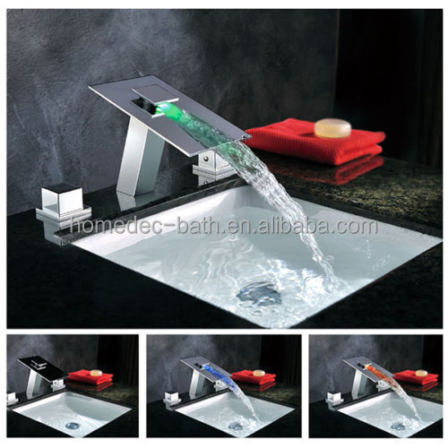 deck mount basin sink waterfall led mixer taps