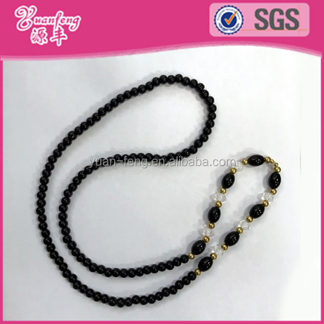 black glass latest design beads necklace with acrylic and gold