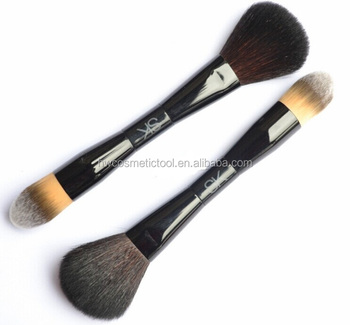 New arrival nylon hair wooden handle black double ended makeup brush