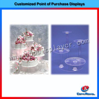 Clear acrylic beauty products display shelf hot selling cake display showcase