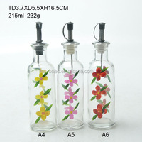 Whole sale 215ml round glass oil and vinegar bottle