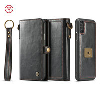 CaseMe New Arrival Top Hot Selling Retro Wallet Leather Case For Apple iPhone 10 Detachable Removable 2 in 1 Phone Accessories
