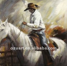 Handmade Portrait Western Cowboy Painting on Canvas