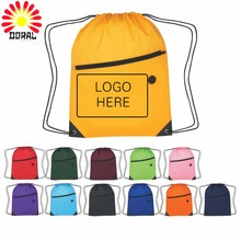 Latest arrival bright color screen printing outdoor beach drawstring backpack bags