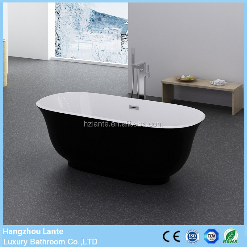 Low Price Narrow and Thin Fiber Bathtub in Black Color