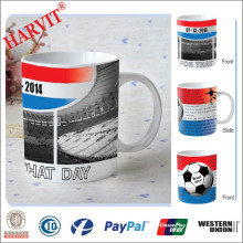 OEM 2014 Brazil Football World Cup Souvenir Fan Products China Manufacturer/Customized Soccer Ceramic Cup Mug Promotional Item