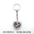 wholesale heart shape printing znic alloy glass keychain keyholder