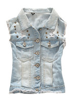 Wholesale Custom High Quality Fashion Denim Waistcoat For Girls