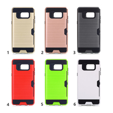 C&T Credit Card Slots Holder Hard Plastic PC TPU Soft Hybrid Shockproof Heavy Duty Protective Cover Case For Samsung Note 8