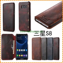 New design Genuine Leather Flip Wallet phone case for samsung s8 plus