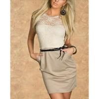 Mini 2016 Sleeveless Lace Women Summer Casual Ladies Office Wear Pocket Lace Short Patchwork Dress