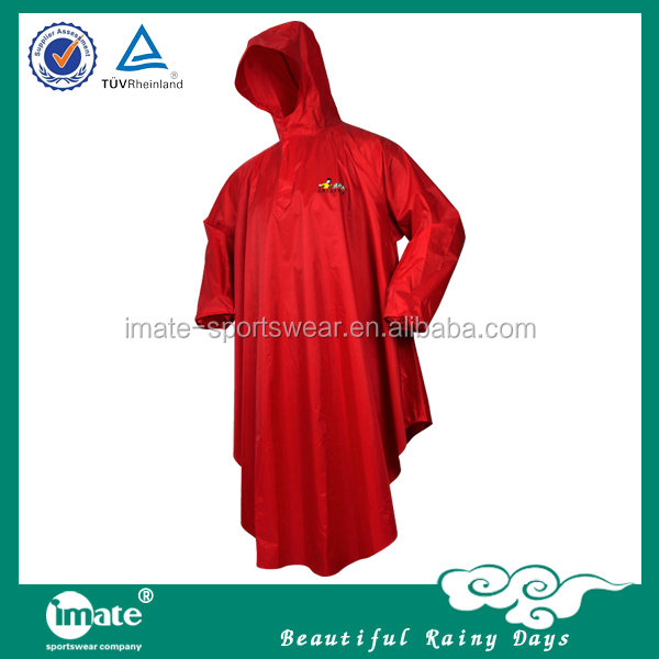 New products recyclable waterproof rain poncho with sleeves