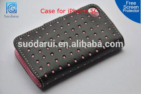 Two Card Slots Dot Hole PU Leather Cover Wallet Case for iPhone 5C