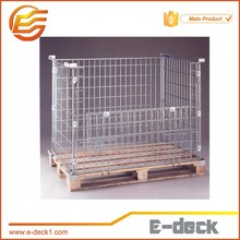 E-DECK Stackable Folding Metal Wire Mesh Pallet Cage with Wooden Pallet