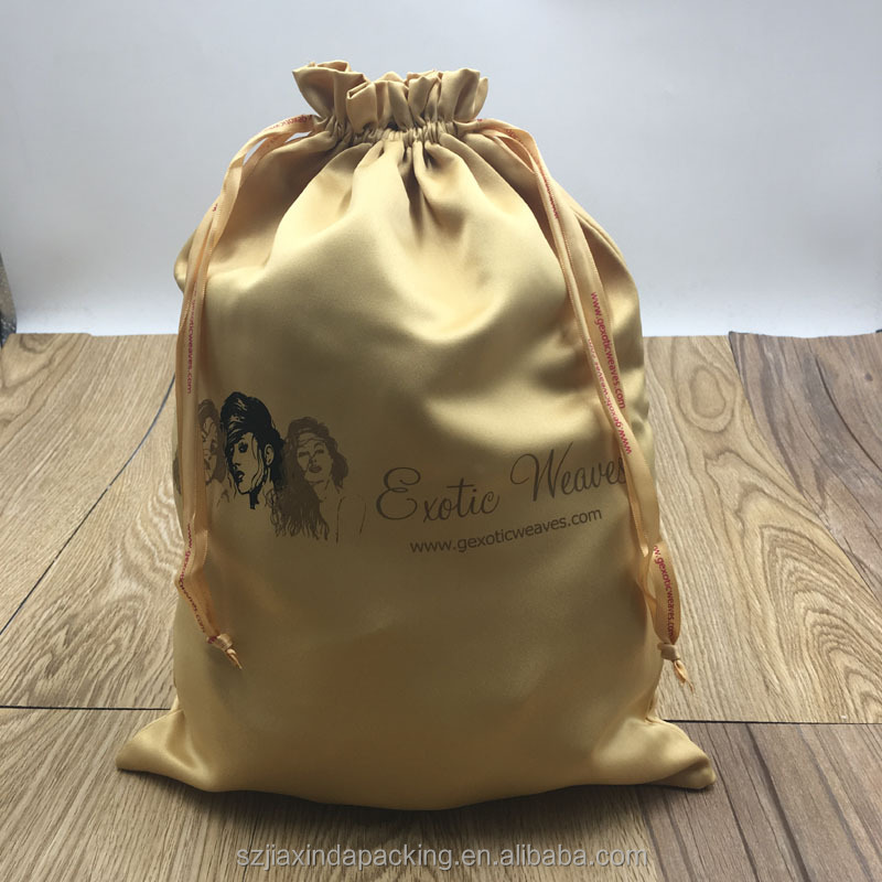 Customized Logo Thick Gold Satin Hair Extension bag