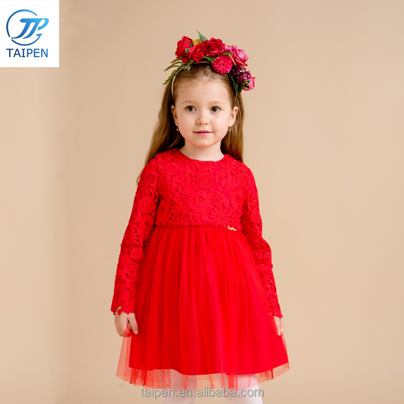 Children Party Dress With 100% Cotton Lining Kids Party Wear Dresses For Girls Color Red