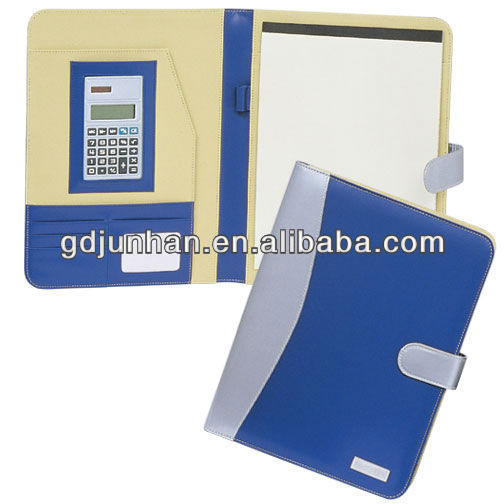 business Pu leather a4 cardboard portfolio with calculator