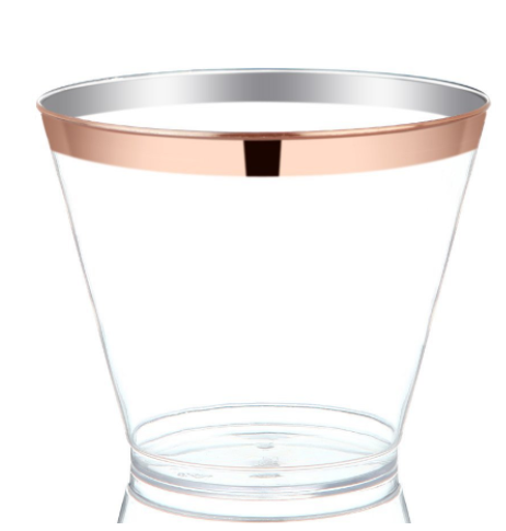 Disposable Fancy Rose Gold silver Rim 50 count Plastic <strong>Cups</strong> For Party tumblers,Wedding 7oz 9 oz 10oz 12oz