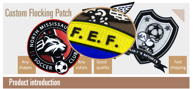 Fashion Custom Transfer 3D flocking Label Patches For Clothing