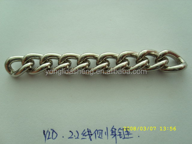 2.2 line thickness silver plated chain for purse bags