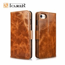 2-in-1 Multifunctional Real Leather Wallet Folio Phone Case for iPhone 7 7 Plus