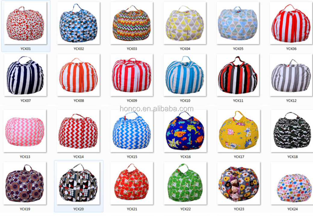 Difference size canvas Stuffed Animal Storage Bean Bag Portable Toy Storage Bag for Kids