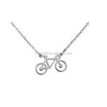 Women Bicycle Chain Necklace Tiny 316L Stainless Steel Cruise Bike Charm Pendant Necklace