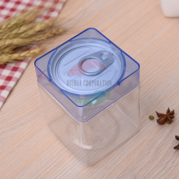 High Quality clear square plastic bottle with aluminum easy open end and color lid