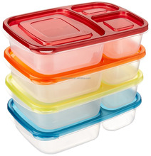 Factory price durable plastic pp 3 compartment microwave food container