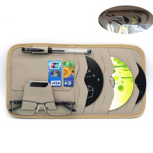 Sun Visor Organizer CD Sotre Case Credit Card Holder For Auto Vehicle Truck 8pcs(Leather Beige)