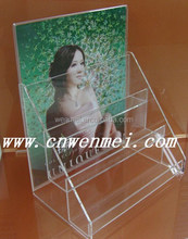 3 tiers clear acrylic brochure holder stand, acrylic display rack