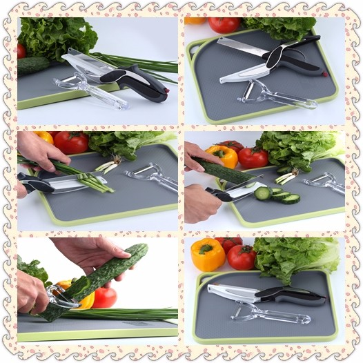 2 piece 2 in 1 Kitchen Clever Scissors Shears Multi Function Clever Cutter Food Choppers Smart Knife Board Vegetable Slicer