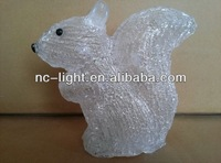 3D LED christmas battery acrylic squirrel motif light