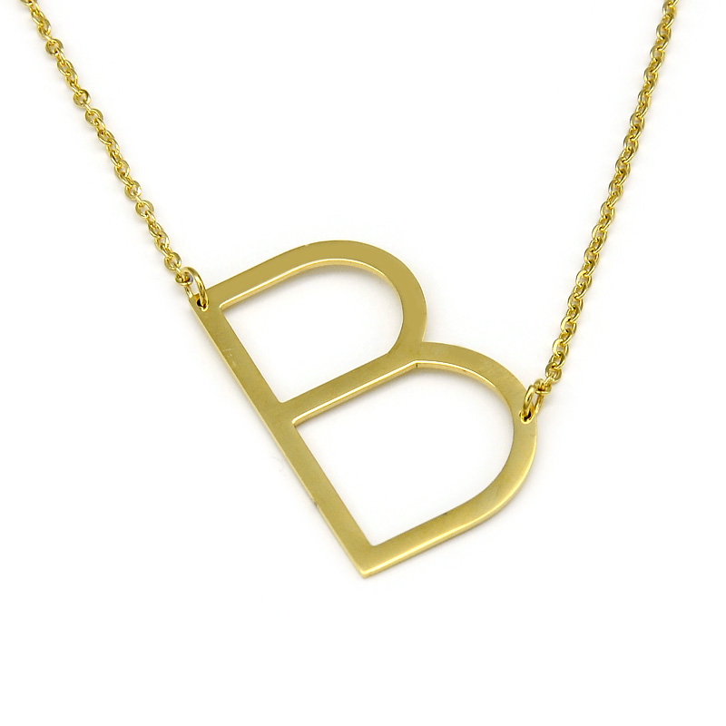 Fashion Letter Necklaces Pendants Initial Necklace 24K Gold Stainless Steel Choker Necklace Women <strong>Jewelry</strong>