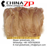 ZPDECOR Feather Size 15-20 cm China Plumage for Sale Cheap Manufacturer Factory Wholesale Dyed Light BROWN Goose Feather Trim