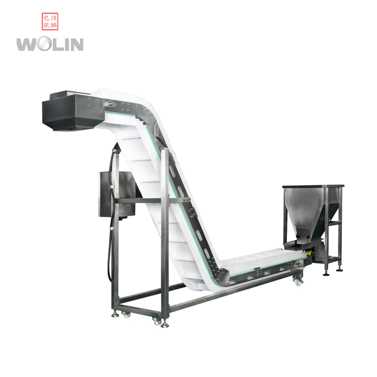 Popular inclined electric belt conveyor elevator feeder for auto packing line
