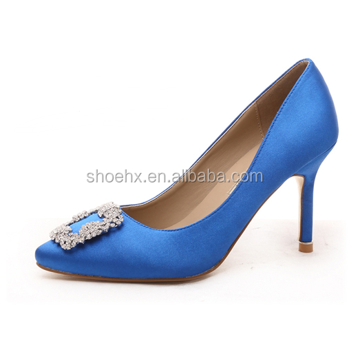2016 fashion rhinestone heels shoes, 10 cm high heels Slik surface Women Pumps, Sexy Wedding Party Shoes 10 colors