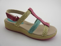 Hand-woven latest high heel sandal shoes for children