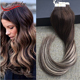 Hair Factory Human Tape in Ombre Hair Extensions Color #3#27 Dip Dye 100% Real