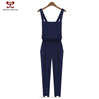 2015 Women's clothing new fashion simple dress pure color legs open bifurcation ninth pants soft Europe suspenders jumpsuits