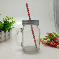 Wholesale 16oz glass mason jars with straw lid and handle